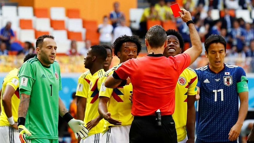 Colombia's Carlos Sanchez being sent off against Japan