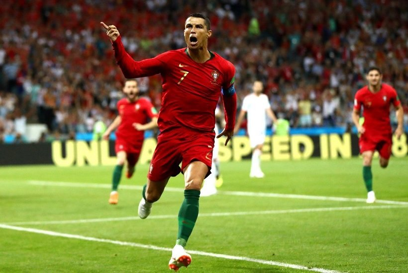 Cristiano Ronaldo celebrating his 3rd goal against Spain