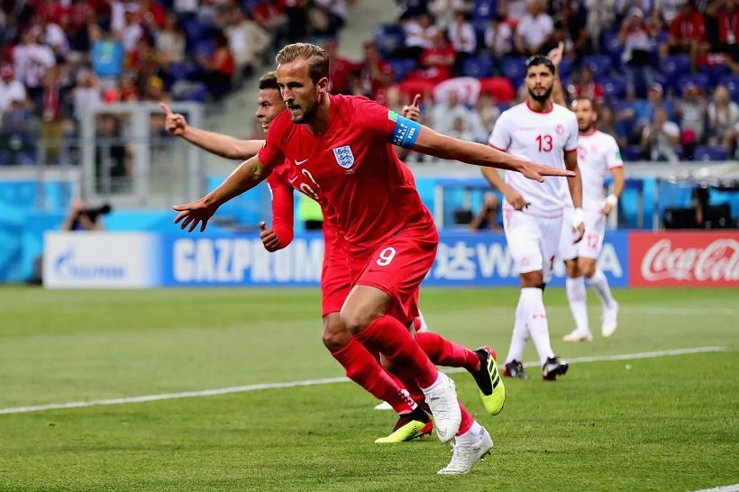 England's Harry Kane scores the winning goal against Tunisia