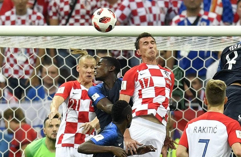 Mario Manduzkic of Croatia scoring an own goal against France in the 2018 WC Final